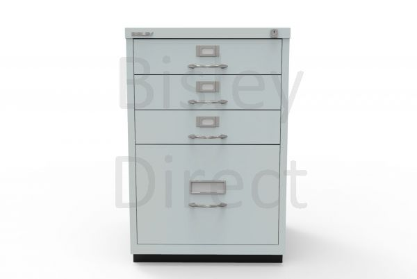 Bisley F Series 4 drawer filing cabinet Classic Front H 71 W 47 D 47cm  050-arn-Silver
