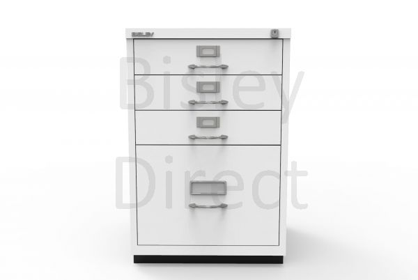 Bisley F Series 4 drawer filing cabinet Classic Front H 71 W 47 D 47cm  050-ba5-TrafficWhite