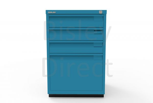 Bisley F Series 4 drawer filing cabinet Flush Front H 71 W 47 D 47cm  0503-bp5-Azure
