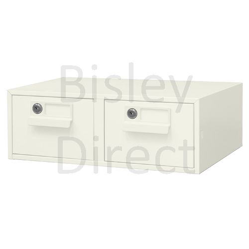 132L-AB9-Chalk Bisley FCB24- A6 Card Index 2 Locking Drawer 15cm High 43.4cm wide 40.3cm deep