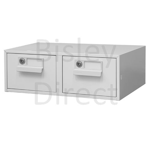 132L-AV4-Goose Grey Bisley FCB24- A6 Card Index 2 Locking Drawer 15cm High 43.4cm wide 40.3cm deep