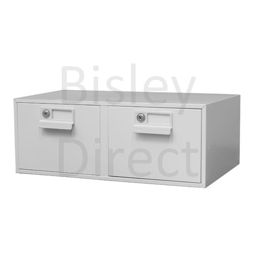 133 L-AV4-Goose Grey Bisley FCB25- A5 Card Index 2 Locking Drawer 20cm High 54.2cm wide 40.3cm deep