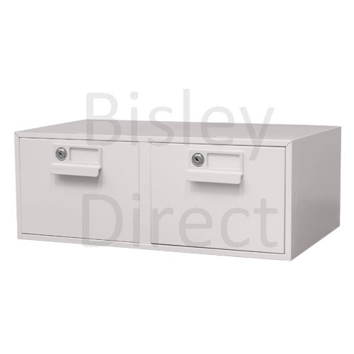 133 L-AV7-Light Grey Bisley FCB25- A5 Card Index 2 Locking Drawer 20cm High 54.2cm wide 40.3cm deep
