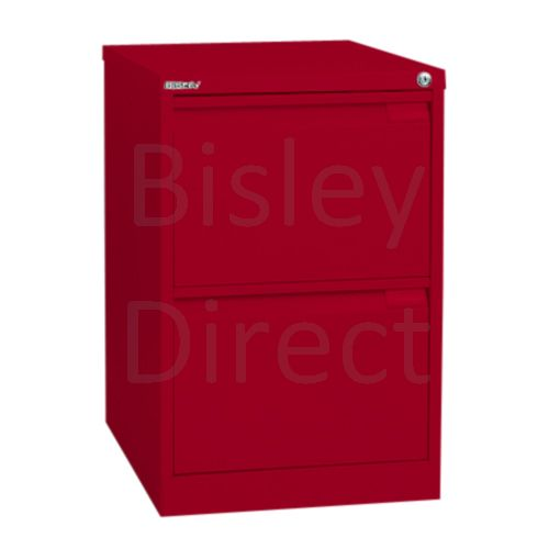 Bisley BS2E Flush Front Filing Cabinets 2 drawer H 71 W 47 D 62 cm 1623-ay8-CardinalRed