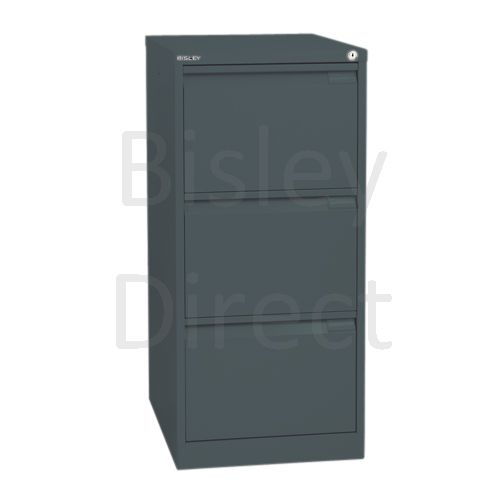 Bisley BS3E Flush Front Filing Cabinets 3 drawer H 101 W 47 D 62 cm 1633-aa3-Anthracite