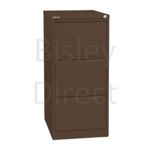 Bisley BS3E Flush Front Filing Cabinets 3 drawer H 101 W 47 D 62 cm 1633-av5-Coffee