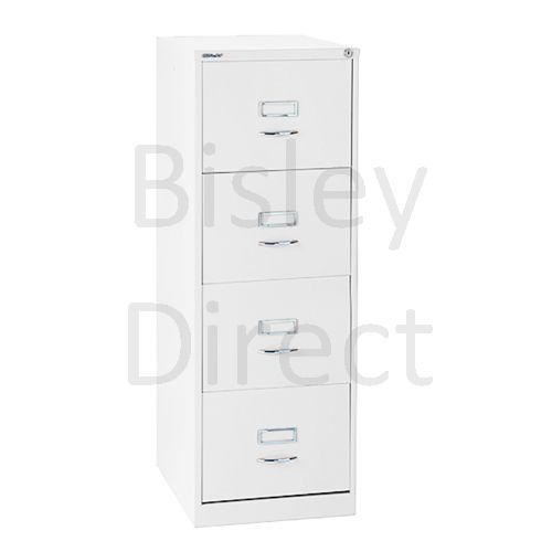 Bisley White Classic BS4C Filing Cabinet 4 drawer  164-ba5 H 132.1 W 47 D 62.2 cm