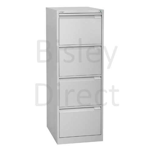 1643-arn-Silver Bisley BS4E 4 Drawer Filing  132cm High 47cm wide 62.2cm deep