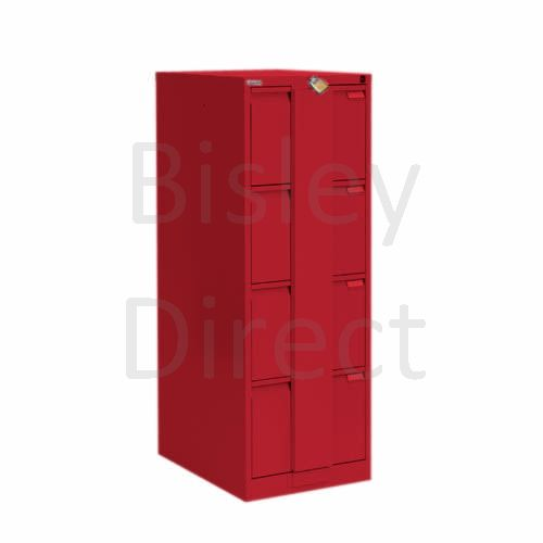Bisley BS4E Security Flush Front Filing Cabinets 3 drawer H 131 W 47 D 62 cm 16430-ay8-CardinalRed