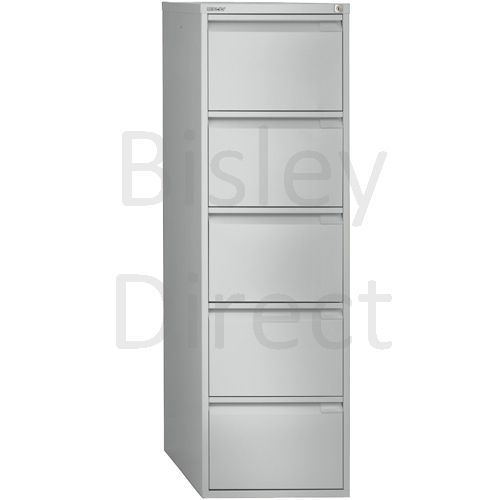 1653-arn-Silver Bisley BS5E 5 Drawer Filing 151cm High 47cm wide 62.2cm deep