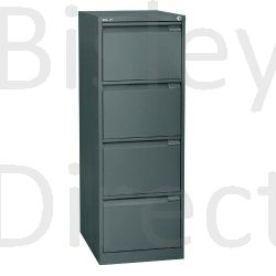 Bisley BS4A4 A4 4 drawer Filing Cabinet H 101 W 41 D 62cm 3643-aa3-Anthracite