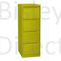 Bisley BS4A4 A4 4 drawer Filing Cabinet H 101 W 41 D 62cm 3643-bp8-Mimosa