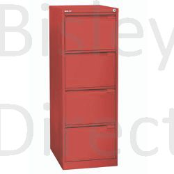 3643-ay8-Cardinal Red Bisley A4 size A4BS4E- 4 Drawer Filing    132cm High 42.3cm wide 62.2cm deep