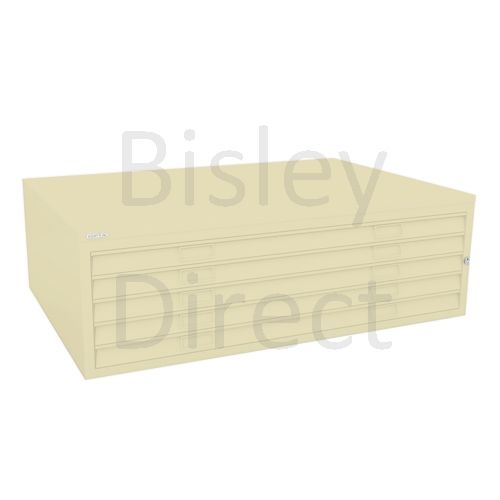Bisley A0  5 drawer Mid Section Plan file (no top) H 40 W 136 D 93 cm 460-av6-Cream