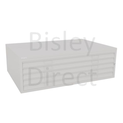 Bisley A0  5 drawer Mid Section Plan file (no top) H 40 W 136 D 93 cm 460-av7-LightGrey