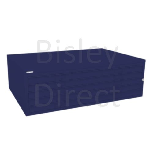 Bisley A0  5 drawer Mid Section Plan file (no top) H 40 W 136 D 93 cm 460-ay7-OxfordBlue
