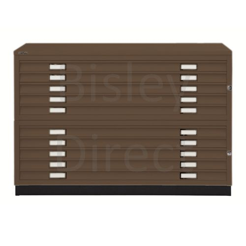 Bisley A0  10 drawer Plan file  H 910 W 136 D 93 cm 461/462-av5-Coffee