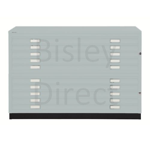 Bisley A0  10 drawer Plan file  H 910 W 136 D 93 cm 461/462-arn-Silver