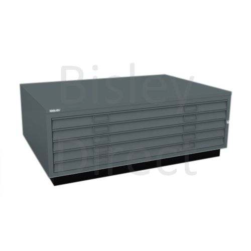 Bisley A0  5 drawer Plan file top with plinth  H 51 W 136 D 93 cm 463-aa3-Anthracite