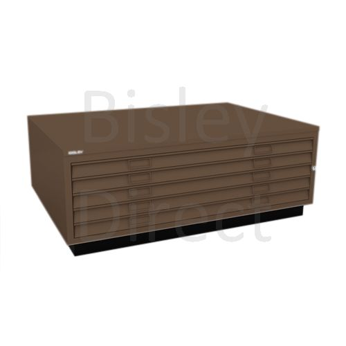 Bisley A0  5 drawer Plan file top with plinth  H 51 W 136 D 93 cm 463-av5-Coffee