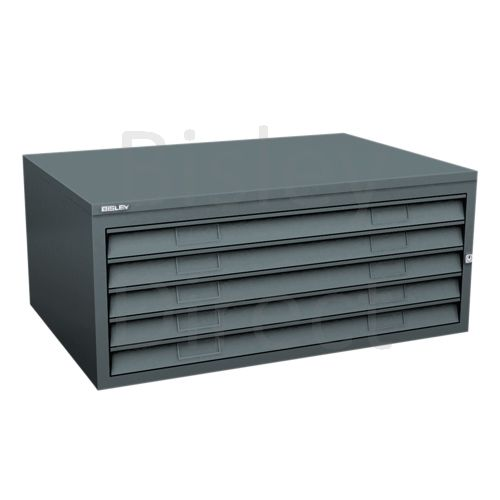 Bisley A1  5 drawer Plan file mid section no top or plinth  H 40 W 101 D 69 cm 470-aa3-Anthracite