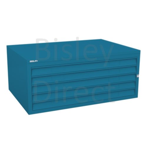 Bisley A1  5 drawer Plan file mid section no top or plinth  H 40 W 101 D 69 cm 470-bp5-Azure
