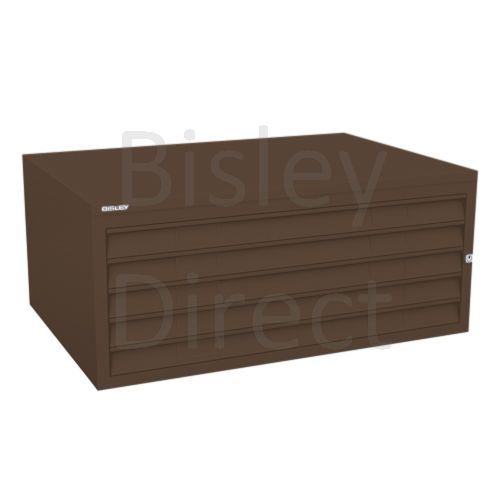Bisley A1  5 drawer Plan file mid section no top or plinth  H 40 W 101 D 69 cm 470-av5-Coffee