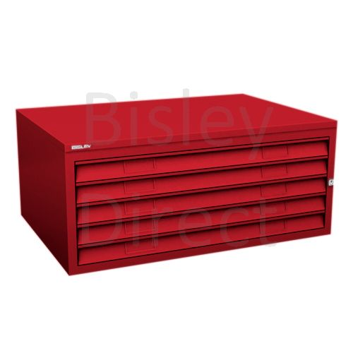 Bisley A1  5 drawer Plan file mid section no top or plinth  H 40 W 101 D 69 cm 470-ay8-CardinalRed