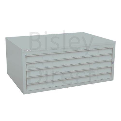 Bisley A1  5 drawer Plan file mid section no top or plinth  H 40 W 101 D 69 cm 470-arn-Silver