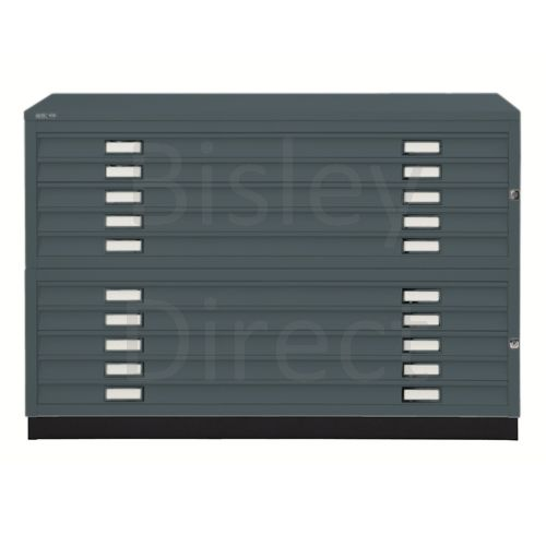Bisley A1  10 drawer Plan file complete with top and plinth  H 91 W 101 D 69 cm 471/472-aa3-Anthracite