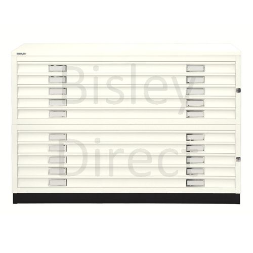 Bisley A1  10 drawer Plan file complete with top and plinth  H 91 W 101 D 69 cm 471/472-ab9-Chalk