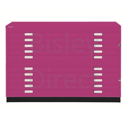 Bisley A1  10 drawer Plan file complete with top and plinth  H 91 W 101 D 69 cm 471/472-be2-Fuschia