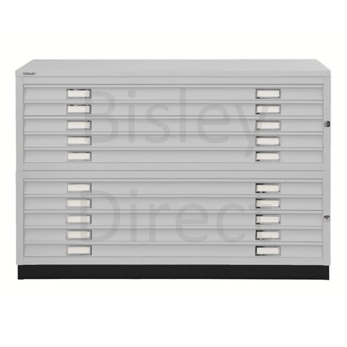 Bisley A1  10 drawer Plan file complete with top and plinth  H 91 W 101 D 69 cm 471/472-av4-GooseGrey