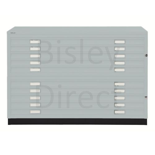 Bisley A1  10 drawer Plan file complete with top and plinth  H 91 W 101 D 69 cm 471/472-arn-Silver