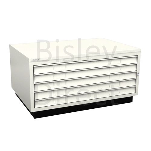 Bisley A1  5 drawer Plan file complete with top and plinth  H 51 W 101 D 69 cm 473-ab9-Chalk