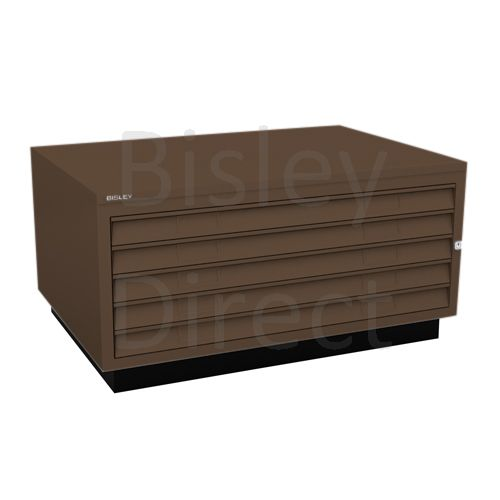 Bisley A1  5 drawer Plan file complete with top and plinth  H 51 W 101 D 69 cm 473-av5-Coffee