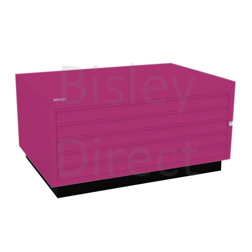 Bisley A1  5 drawer Plan file complete with top and plinth  H 51 W 101 D 69 cm 473-be2-Fuschia