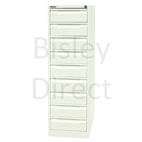 B64-AB9-Chalk Bisley BCF64 - 9 Drawers  Card Filing 132cm High 41.3cm wide 62.2cm deep