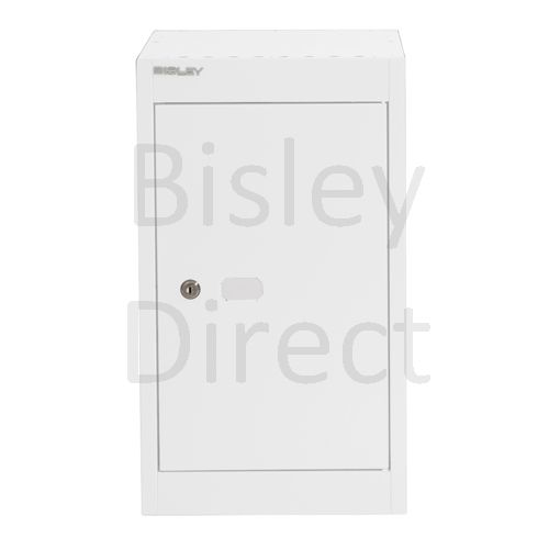 CLK121C-ba5-Traffic White Bisley Cube Locker  1 Door  52cm High 30.5cm wide 30.5cm deep