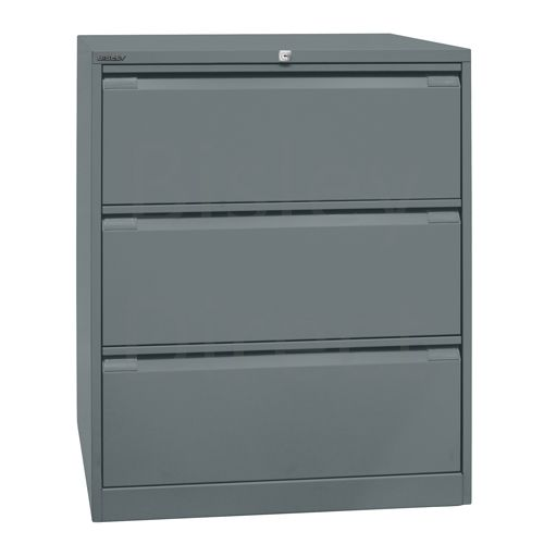 DF3-aa3-Anthracite Bisley Double A4 3  Drawer Filing 101cm High 80cm wide 62.2cm deep