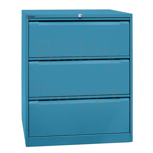 DF3-bp5-Azure Bisley Double A4 3  Drawer Filing 101cm High 80cm wide 62.2cm deep