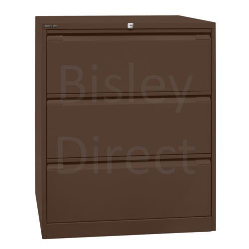 DF3-av5-Coffee Bisley Double A4 3  Drawer Filing 101cm High 80cm wide 62.2cm deep