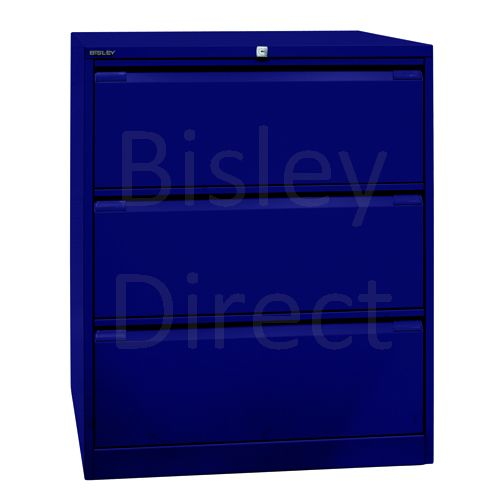 DF3-ay7-Oxford Blue Bisley Double A4 3  Drawer Filing 101cm High 80cm wide 62.2cm deep
