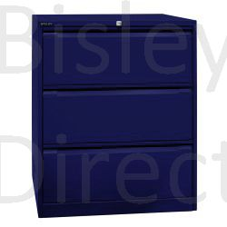 Bisley Dark Blue Double Filing cabinet 3 drawer DF3-ay7 H 101.6 W 80 D 62.2 cm