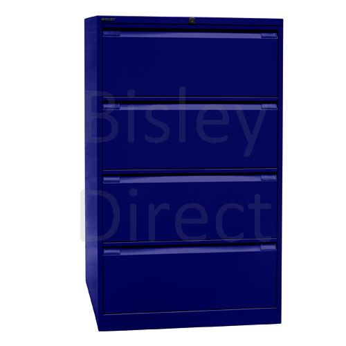 DF4-ay7-Oxford Blue Bisley Double A4 4  Drawer Filing 132cm High 80cm wide 62.2cm deep