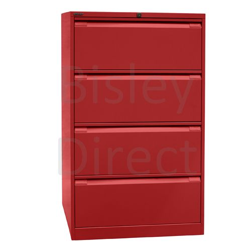 DF4-ay8-Cardinal Red Bisley Double A4 4  Drawer Filing 132cm High 80cm wide 62.2cm deep