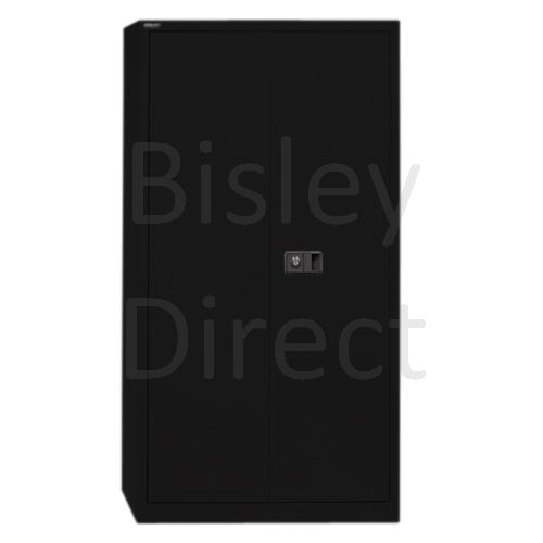 Bisley value locking stationery cupboard with 4 shelves  H 195 D 40 W 91 cm E782A04-AV1-Black