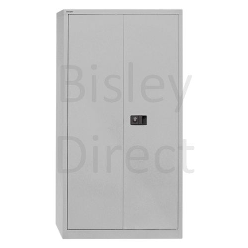 Bisley value locking stationery cupboard with 4 shelves  H 195 D 40 W 91 cm E782A04-AV4-GooseGrey