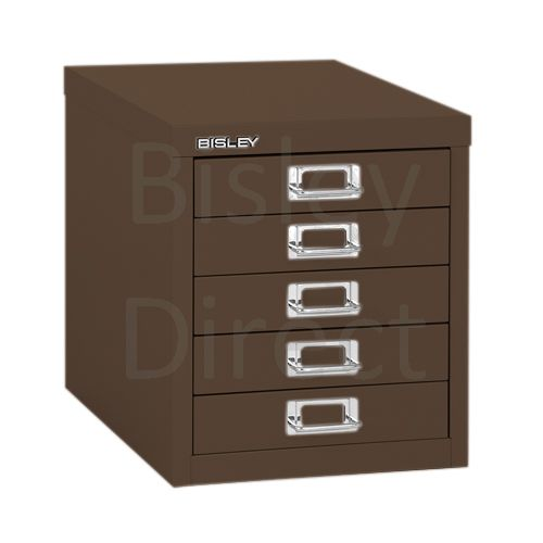 Bisley 5 Drawer non-locking  Multidrawer for home or office H 32.5 W 28 D 38 cm H125NL-av5-Coffee
