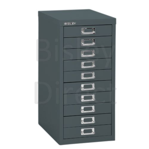 Bisley 10 Drawer non-locking  Multidrawer for home or office H 59 W 28 D 38 cm H2910NL-aa3-Anthracite